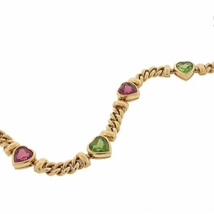 Bvlgari Peridot and Pink Tourmaline Heart Bracelet