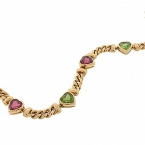 Bvlgari Peridot and Pink Tourmaline Heart Bracelet