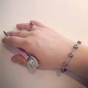 Cartier Pink Guilloche Enamel Watch Pen