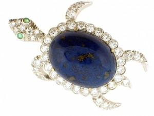 Vintage Lapis Turtle Brooch with Diamonds