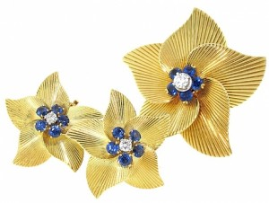 Vintage Tiffany and Co Sapphire and Diamond Brooch and Earrings Set