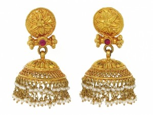 Indian Seed Pearl and Ruby Earrings