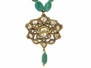 Emerald Bead and Diamond Mogul Necklace