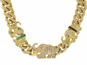 Sapphire, Emerald and Diamond Elephant Necklace