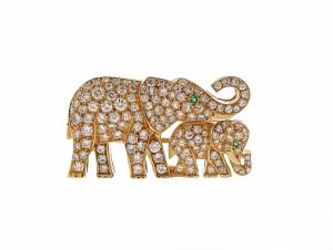 Cartier Diamond Elephant Brooch