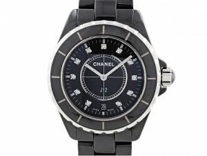 Chanel J-12 Diamond Watch in Black Ceramic