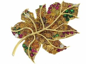 Friedrich Colored Diamond, Ruby and Emerald leaf brooch