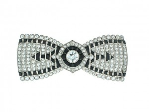 Antique Edwardian Cartier Diamond Bow Tie Brooch