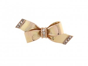 French Retro Diamond Bow Brooch