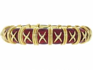 Tiffany Schlumberger Red Croissillon Enamel Bracelet