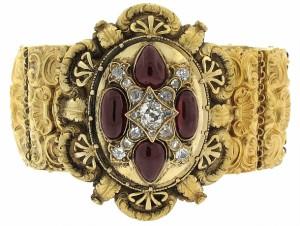 Antique Victorian Garnet and Diamond Bracelet