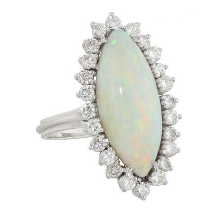 Vintage Opal and Diamond Ring in 18K